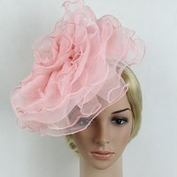 Wholesale Pink Flower Hair Band - Women Flower Mutli-layer Mesh Fascinator Bride Wedding Hats Black Pink White Elegant Hair Band Fascinator Headband Girl Headwear