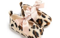 Wholesale Toddler Leopard Shoes For Girls - Christening Baptism Newborn Baby Girl Shoes Leopard Soft Soled Shoes Toddler First Walker Booties Shoes For Girls