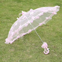 Wholesale White Lace Parasol Umbrella Wholesale - Flower Embellished Umbrella Bridal Lace Sun Umbrellas Girl Handmade Parasol Lace White Wedding Decor Modern Style Design