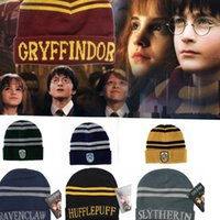 Wholesale Harry Potter Beanie Gryffindor Slytherin Skull Caps Hufflepuff Ravenclaw Cosplay Costume Caps Striped School Winter Fashion Hats KKA2071