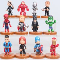 Wholesale miniature christmas toys wholesale - NEW 12pcs lot The Avengers 2 Miniatures Marvel PVC Action Figures Kids Toys Christmas Gift Cake Topper