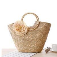 Wholesale Knitting Bag Shop - Spring Handmade Knitting Bags Original Brand Top Handle Bag Fashion Ladies Handbag Straw Beach Tote Handbag Shopping Bag J133