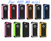 Wholesale M7 Hard - Armor Case For HTC M8 mini M9 M7 Shockproof 3 iN 1 Heavy Duty Tough Hybrid Rubber Silicone TPU Football Skin Hard Cover