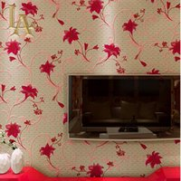 Wholesale Red Floral Wall Paper - Wholesale- Classic Red Plaid Flower Wallpaper For Walls 3 D Bedroom Living room Background Decor Chinese Style Floral Wall paper Rolls