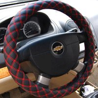 Wholesale Steering Wheel Cover Pu Leather - Quilting embroidery Car Steering Wheel Cover Cap PU leather Anti-slip comfortable steering wheel Car Decoration Auto Accessories