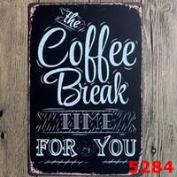 Wholesale Folk Art Shop - Bar Metal Paint Coffee Menu Vintage Tin Sign Bar Pub Shop Home Wall Decor Retro Metal Art Poster Decoration Painting 2017 New Room