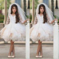 Wholesale Communion Dresses Made China - Pretty Ivory Flower Girl Dresses Knee Length Tulle Sheer 3 4 Sleeves Round Neck Junior Bridesmaid Dress With Flowers Handwork China Ivory