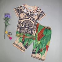 pescoço garoto tatuagem venda por atacado-Meninos de verão Maui Outfits Crianças Manga Curta Tatuagem Impresso T Shirts + Shorts Conjuntos de Pijama Boy Clothin