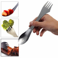 Wholesale utensil stainless steel - Fork spoon spork 3 in 1 tableware Stainless steel cutlery utensil combo Kitchen outdoor picnic scoop knife fork set