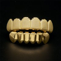 Wholesale Hip Bump - Fashion House Wife Hip Hop Braces Grillz Cool Gold Bump 6 Top & Bottom Teeth Grillz Halloween Gift Fashion Jewelry