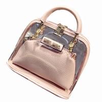 Wholesale Pvc Clear Handbags - Wholesale- 2017 Famous Clear Bags Candy Color Women Leather PVC Purses Handbags Chain Shell Transparent Hand Bag Fashion Women Shoulder Bag