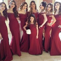 Cheap Reference Images long bridesmaid dress Best Trumpet/Mermaid Off-Shoulder maroon bridesmaid dress