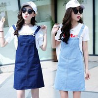 Wholesale Womens Bib Overalls Denim - Womens Jeans Suspenders Skirts Summer Fashion Cotton Denim Skirt Knee Length Woman Sweet Loose Bib Overalls Skirts Jupes