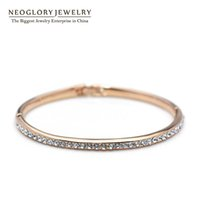 Wholesale Copper Clasps Jewelry Making - Top Quality MADE WITH SWAROVSKI ELEMENTS Rhinestone Gold Color Neoglory Bangles & Bracelets Charm for Women Fashion Jewelry