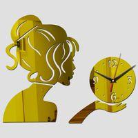 relojes de acrílico espejo al por mayor-Venta al por mayor-2016 reloj de pared de acrílico espejo reloj de cuarzo relojes de pulsera decoración del hogar 3d pegatinas diseño moderno sala de estar envío gratis