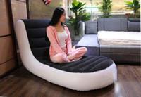 flocado para el sofá al por mayor-Sofá inflable de lujo con flocador individual Sofá perezoso, sillón reclinable con respaldo No incluye bomba eléctrica