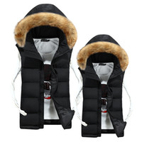 Wholesale Men Vest Jacket Hood - Wholesale- Free shipping 2016winter new fashion casual cotton slim hood fur collar lovers colete masculino sleeveless jacket down vest men