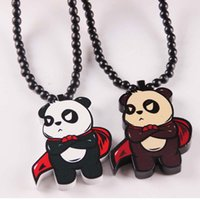 Wholesale Hip Hop Goodwood - Prtty Panda Wood Bead Necklace Fashion HIP HOP Necklace Panda Goodwood Rosary Necklace Trendy Wooden Pendant Necklaces