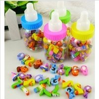 Wholesale Erasers Bottle - Wholesale-Creative stationery cute cartoon mini bottle eraser Fruit eraser animal figures school supplies wholesale free shipping 670