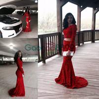 cuentas de coral rojo africano al por mayor-2019 Dos piezas Red Sexy sirena vestidos de baile Dubai mangas largas de encaje perlas africanas lentejuelas ocasión formal vestidos de fiesta de noche