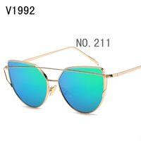 Wholesale Uv Coloured Sunglasses - sunglasses for women korea oval face men women case side shields china colour glass wholesale brand retro Uv protection sports with box test