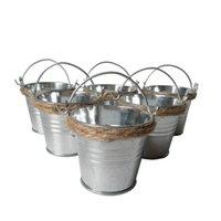 Wholesale Candy Favor Boxes Cheap - 100Pcs Lot D6*H5CM Cheap Metal mini Pail Tin bucket Hemp rope Succlents Pots Decorative Galvanized Iron pots Party Favor