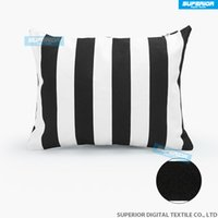 Wholesale Canvas Pillowcases - 10pcs lot Decorative Cotton Canvas Square Throw Pillow Cushion Cover Handmade Black and White Stripe Toss Pillowcase with Hidden Zipper