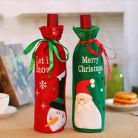 Wholesale Luminous Long Fabric - Santa Claus Snowman Design Wine Bottle Cover Red Wine Gift Bags Pretty Christmas Decoration Supplies Xmas home ornaments