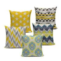 Wholesale Gray Chevron Pillows - Chevron Yellow Linen Cotton Geometry Decor Throw Pillows Case Linen for Sofa Car Cotton Cushion Cover Creative Decoration