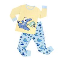roupas de bebê menino corujas venda por atacado-Coruja da criança Pijamas Do Bebê Dos Miúdos Da Criança Meninos Roupas Sleepwear Pijama Set 2 T-7 T meninas roupas de manga longa Azul conjuntos pijama pijama