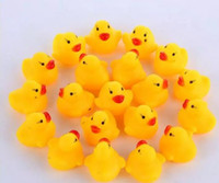 Wholesale Toys Water Sound Baby - 500pcs High Quality Baby Bath Water Duck Toy Sounds Mini Yellow Rubber Ducks Kids Bath Small Duck Toy Children Swiming Beach Gifts