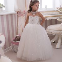 Winter Ankle-Length Lace Sparkle Bling Bling Sequined Kids Puffy Ball Gowns Strapless Bow Sash Long White Little Girl Wedding Party Dress 0-14 Year Old