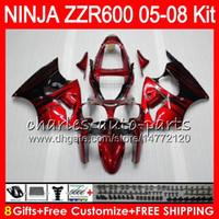 Wholesale kawasaki zzr red - 8Gifts 23Colors Body For KAWASAKI NINJA ZZR600 05 06 07 08 32HM10 600CC ZZR-600 ZX600 05 ZZR 600 2005 2006 2007 2008 Fairing kit Red flames