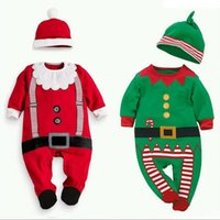 Wholesale Girls Jump Suits - New Arrival Christmas Clothing Boys And Girls Red Long Sleeves Baby Romper Christmas Coat Baby Jumpsuits Infants Wear Jump Suits