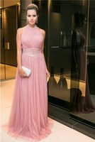 A Line Perle Dusty Pink Long Dress Prom Dress Sequins Tulle Elegante Lady Formale Evening Dresses 2017 Backless Evento Abito