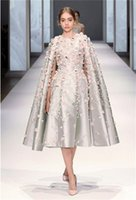 Wholesale Special Occasion Floral Gown - Paolo Sebastian Prom Dresses 2017 Appliques Tea length 3D floral Ralph Russo Special Occasion Dresses Evening Gowns