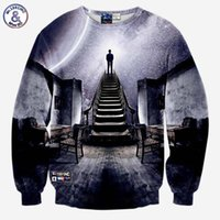 Wholesale Popular Showers - Hip Hop Very popular style Men's 3d sweatshirts print A person watch the space meteor shower casual Stairs ladder hoodies