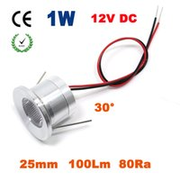 Atacado 12PCS 1W 100Lm 25mm 12V Led Downlight com 0-10V PWM Dimmable Driver CE RoHS Gabinete e luz da escada