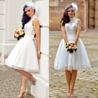 Wholesale Casual Beach Wedding Dresses Ruched - 2017 Vintage Short Beach Wedding Dresses Lace High Neck Sleeveless Sexy Backless Casual Knee Length Garden Bridal Gowns with Sash Bow