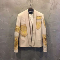 Wholesale Embroidery Baroque - Wholesale- Runway Paris Fashion Baroque Men's Designer Jacket Long Sleeve Badge Embroidery Blazer Jacket Outerwear Coat
