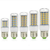 Wholesale E27 Led Lamp Corn 9w - Ultra Bright SMD5730 E27 E14 LED lamp 7W 9W 12W 15W 18W 220V 360 angle 5730 SMD LED Corn Bulb light Chandelier 24LED 36LED 48LED 56LED 69LED