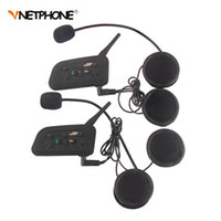 Venta al por mayor de 2pcs Vnetphone V6 motocicleta casco Bluetooth Intercomunicador Auriculares 1200M Moto Inalámbrico BT Interphone para 6 jinetes Intercomunicador