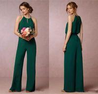 Wholesale Ruffle Empire Waist Wedding Dress - Cheap 2017 Dark Green Flow Chiffon Bridesmaid Dresses Elegant Empire Waist Pant Suit Maid of Honor Gowns Wedding Guest Dress