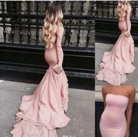 Wholesale Purple Layered Ruffle Dress - 2017 New Sexy Blush Pink Strapless Satin Long Prom Dresses Layered Mermaid Sweep Train Formal Party Evening Dresses