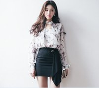Wholesale Pack Dress Shirts - 2017 spring summer new women's sexy fashion long-sleeved printing chiffon shirt + Slim pack hip skirt two-piece