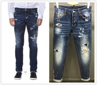 Wholesale New Mix Skinny Jeans - 2017 New Style Men's Denim Jean Embroidery DSQ2 Pants Holes D2 Jeans Button Trousers Mixed Order! New Model