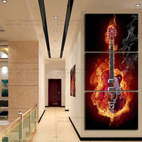 size picture frames Canada - Framed 3PCS Guitar Music Picture,Hand Painted Contemporary Abstract Wall Decor Art Oil Painting On Canvas.Multi sizes Ab071