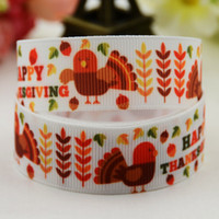 Wholesale Thanksgiving Hair Accessories - Thanksgiving Day Cartoon Turkey Maple leaf Printed Grosgrain 100 Yards Ribbons Festival Party Jewelry Craft Kids Hair Accessories Craft