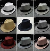hüte für männer leinen großhandel-Vogue-Mann-Frauen-weiche Fedora-Panamahüte-Baumwoll- / Leinenstroh-Kappen im Freien geizige Krempe-Frühlings-Sommer-Strand 34 Farben LC612