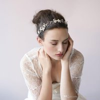 Wholesale Honey Hair Accessories - Twigs & Honey Wedding Headpieces Hair Accessories With Pearls Crystals Women Hair Jewelry Gold Silver Wedding Tiaras Bridal Headbands 2017